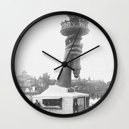 Statue Of Liberty, 1876, right arm with torch on display Liberty Island black and white photograph Wall Clock