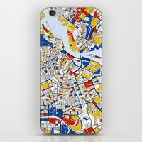 amsterdam iPhone & iPod Skins featuring Amsterdam by Mondrian Maps