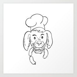Chef Dog Biting Sausage String Cartoon Black and White Art Print
