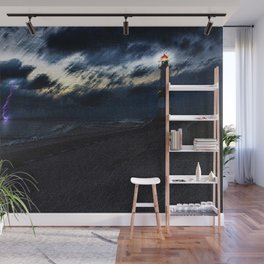 Twilight Lightning and Lighthouse Landscape by Jeanpaul Ferro Wall Mural
