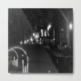 Amsterdam B&W night by the canal Metal Print