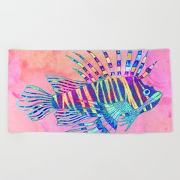 Electric Lionfish Beach Towel