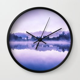Beautiful reflections of Southern Alps at Lake Matheson on early morning, South Island, New Zealand Wall Clock