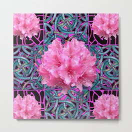 Pink Flowers Cluster Art Nouveau Nature Metal Print
