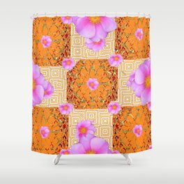 Quilted Style Fuchsia Pink Wild Rose Orange Pattern Abstract Shower Curtain