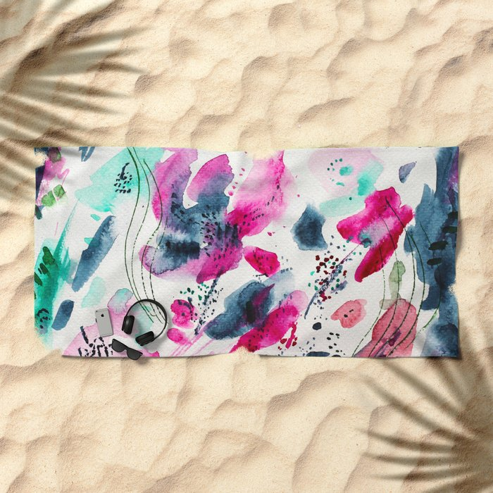 Floral abstraction #2 || watercolor Beach Towel