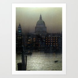 St. Paul's Cathedral on the River Thames, London by Louis H. Grimshaw Art Print