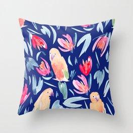 Watercolour Tropical Birds Throw Pillow