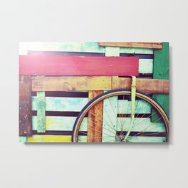 Decorative retro wooden cart with wheel Metal Print