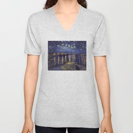 Vincent Van Gogh Starry Night Over The Rhone Unisex V-Neck