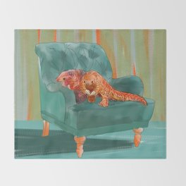 animals in chairs #5 the Pangolin Throw Blanket