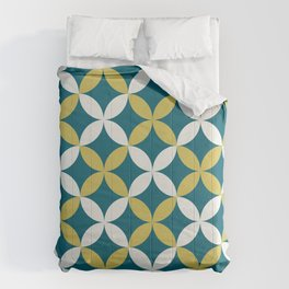 Off White, Dark Yellow and Tropical Dark Teal Inspired by Sherwin Williams 2020 Trending Color Oceanside SW6496 4 Leaf Minimal Flower Petal Pattern Comforters