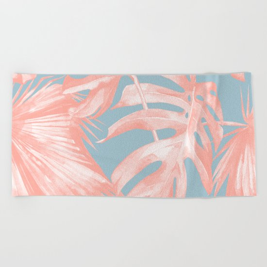 Island Love Coral Pink on Pale Blue Beach Towel