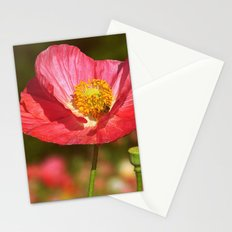 Poppy Buzz Red Poppy flower with honey bee botanical nature print Stationery Cards