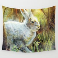 hare Wall Tapestries featuring Hare by Natalie Berman