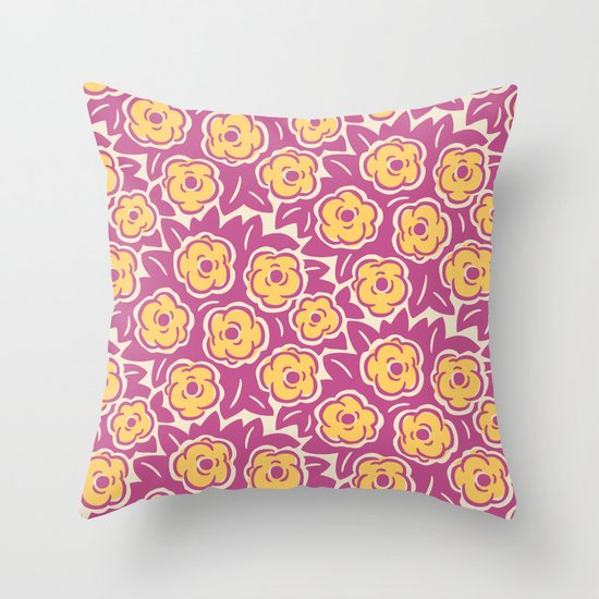 Flower Bouquet Pattern Magenta and Yellow by tonymagner