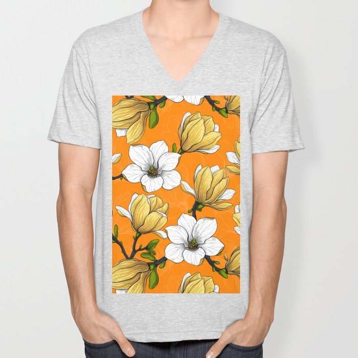 Magnolia garden in yellow Unisex V-Neck