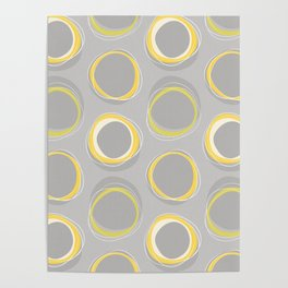 Solar Eclipse MCM Gray-Yellow Poster