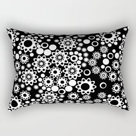 Black / white fishnet Lace pattern Rectangular Pillow