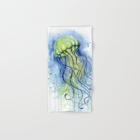Jellyfish Watercolor Beautiful Sea Creatures Hand & Bath Towel