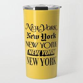 New York City Yellow Taxi and Black Typography Poster NYC Travel Mug