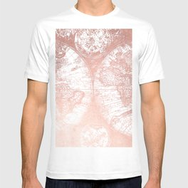 Rose Gold Pink Antique World Map by Nature Magick T-shirt