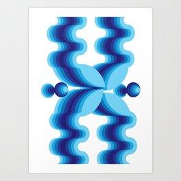 Groovy Blue Pattern Art Print