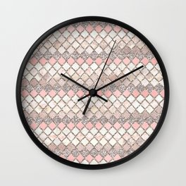 Rose Gold and Marble Decorative Square Tile Pattern Wall Clock