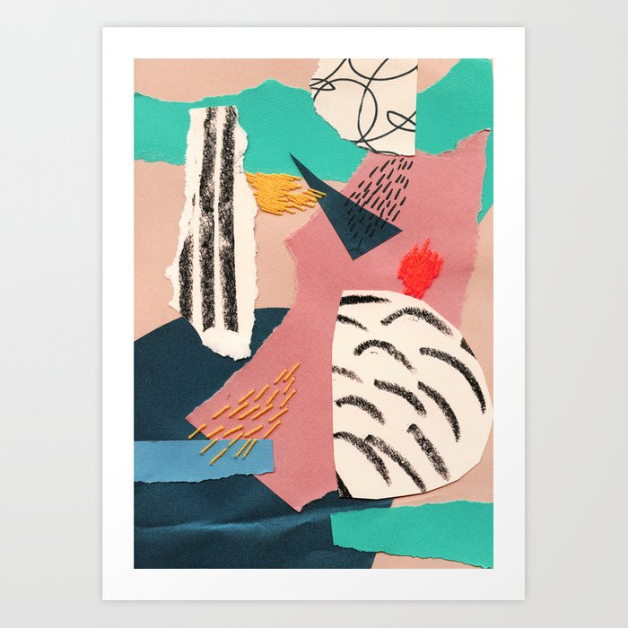 Abstract Collage With Embroidery Art Print By Embroiderrred Society6
