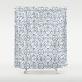 Mediterranean Tiles In Blue / Grey & White Shower Curtain