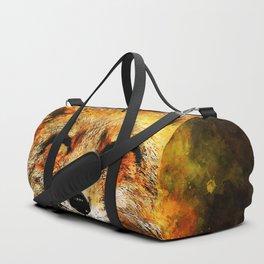 happy fox smiling splatter watercolor Duffle Bag