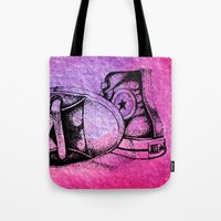 sneakers Tote Bags featuring Violet Sneakers by ladyberula