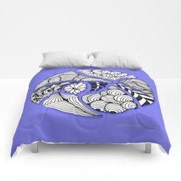 Zentangle Design - Black, White and Purple Illustration Comforters