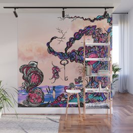 The Key is Within Black Inked Color Illustration Wall Mural
