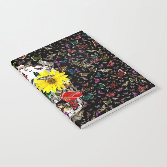 Skull Flowers Animals on Black | Butterflies Notebook