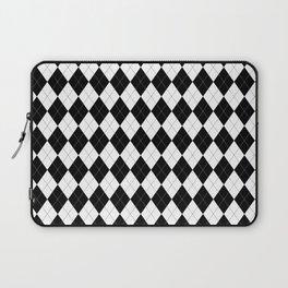 Black White Argyle Pattern Geometric Laptop Sleeve