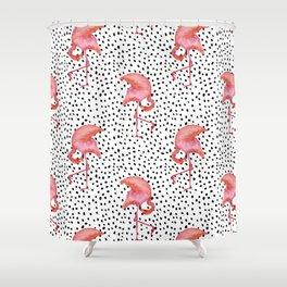 Flamingos and Polka Dots by Katrina Ward Shower Curtain