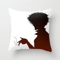 bebop Throw Pillows featuring Cowboy Bebop by AWAL