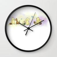 winnie the pooh Wall Clocks featuring Classic Winnie the Pooh, edit by kltj11