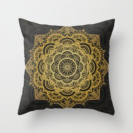 Gold mandala card Throw Pillow