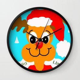 Nadolig llawen reindeer - Merry Christmas wales Wall Clock
