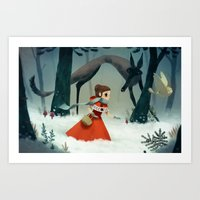 red hood Art Prints featuring red hood by brutal moineau