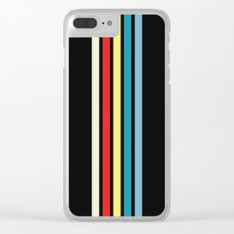 Five Trendy Colorful Stripes on Black 16 Clear iPhone Case