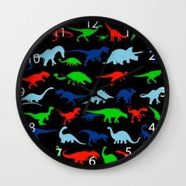 silhouettes of dinosaur pattern Wall Clock