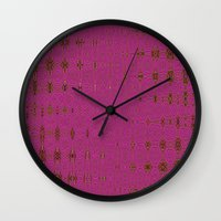 hot pink Wall Clocks featuring Hot Pink by Dorothy Pinder