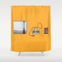 nintendo Shower Curtains featuring #38 Nintendo Entertainment System by Brownjames Prints