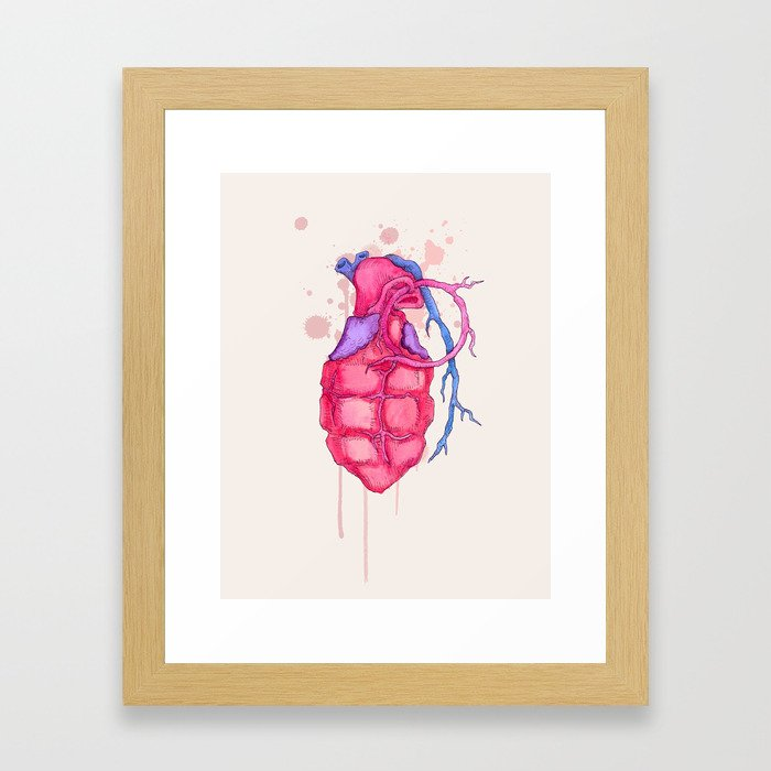 Heart Grenade Framed Art Print