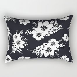 Black and white graphic floral pattern Rectangular Pillow