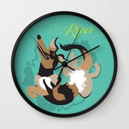 Dog Play Rollover Wall Clock