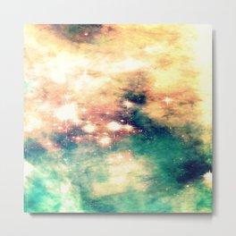 Carina Nebula Cream & Teal Metal Print